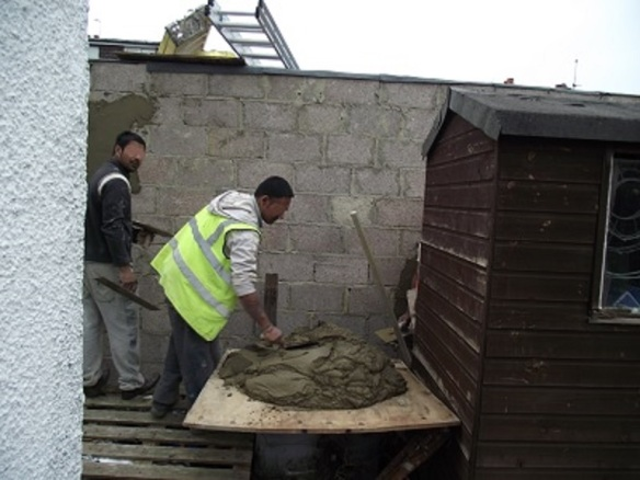 Outhouse under construction, Greenford, London Borough of Ealing (photo Albertina McNeill 2014)