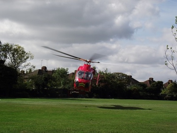 Air ambulance takes off from Oldfield Recreation Ground (Albertina McNeill 2014)