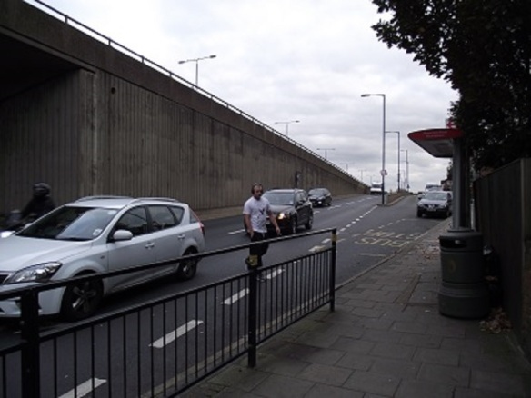 Bus stop at sliproad, Greenford Flyover (Albertina McNeill 2014)
